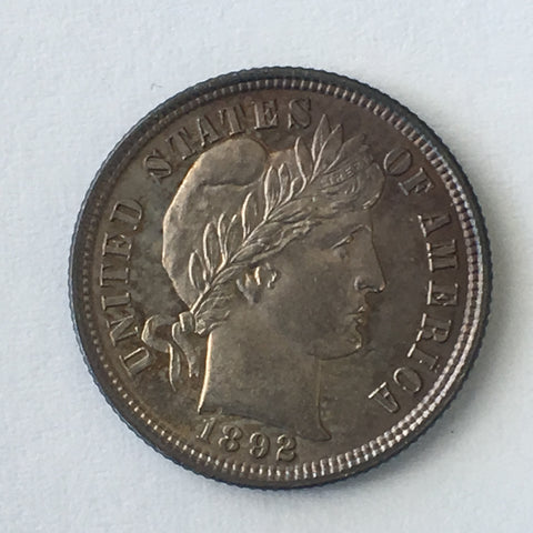 1892-P Barber Dime. First Year of