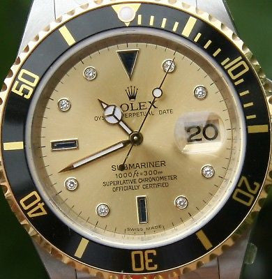 ROLEX 18K GOLD STEEL SUBMARINER 16613 WITH GOLD DIAMOND  & SAPPHIRE DIAL