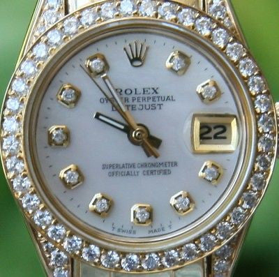 ROLEX 18k GOLD DATEJUST PRESIDENT PEARLMASTER DIAMONDS