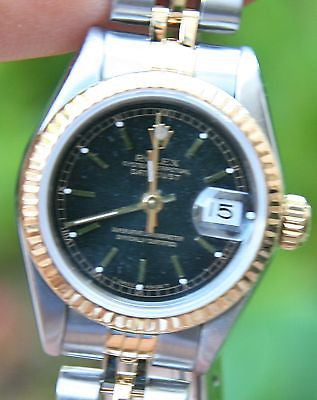ROLEX LADIES 18k GOLD STEEL DATEJUST WATCH 26mm