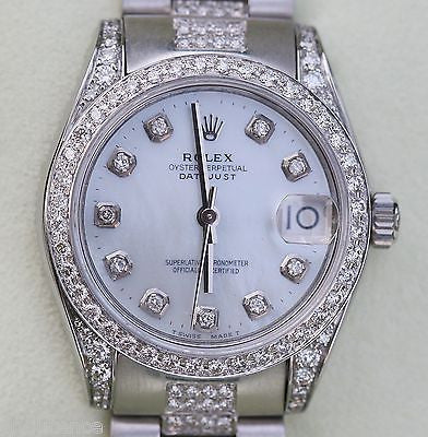 ROLEX DATEJUST MIDSIZE 178240 LADIES 18K GOLD DIAMOND PRESIDENT BAND NEW