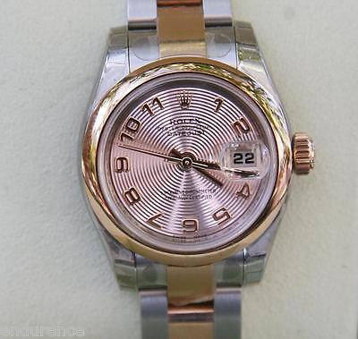 ROLEX LADIES DATEJUST WATCH ROSE GOLD STEEL TWO TONE 179171 CENTRIC DIAL