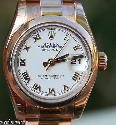 NEW ROLEX LADIES PRESIDENT PRESIDENTIAL WATCH ROSE GOLD  BOX CARD CERTIFICATE
