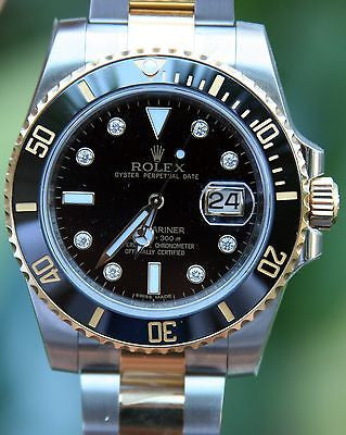 ROLEX 18k GOLD & STEEL MENS SUBMARINER WATCH FACTORY DIAMOND DIAL WARRANTY CARD