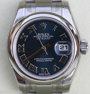 ROLEX DATEJUST LADIES 179160  STAINLESS STEEL BOX WARRANTY CARD ROMAN NUMERALS