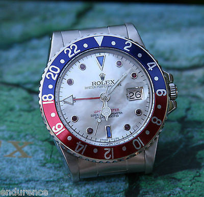 VINTAGE ROLEX GMT 1675 WATCH STEEL RUBY SAPPHIRE PEPSI DIAL BEZEL JUST SERVICED