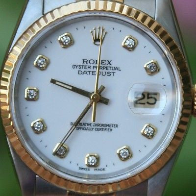 ROLEX 18k Yellow Gold & Steel 36mm Mens 16233 Datejust Watch White Diamond Dial