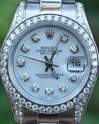 ROLEX LADIES STEEL 26mm DATEJUST 179160 DIAMONDS BEZEL LUGS MOTHER OF PEARL DIAL
