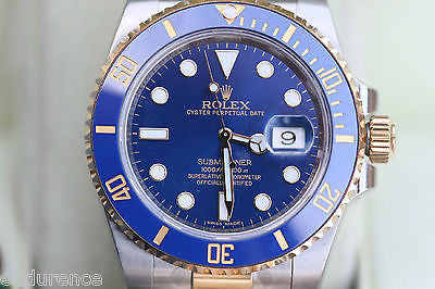 ROLEX SUBMARINER MENS TWO TONE 116613 CERAMIC BEZEL BLUE DIAL