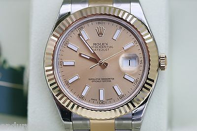 ROLEX DATEJUST II MENS TWO TONE GOLD STAINLESS STEEL 41mm 116333