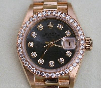 ROLEX PRESIDENT LADIES WOMENS 18K GOLD WATCH DIAMONDS BLACK MOTHER OF PEARL