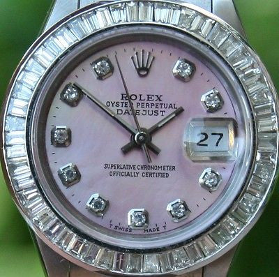 ROLEX STEEL LADIES 26mm DATEJUST WATCH WARRANTY DIAMOND MOP DIAL