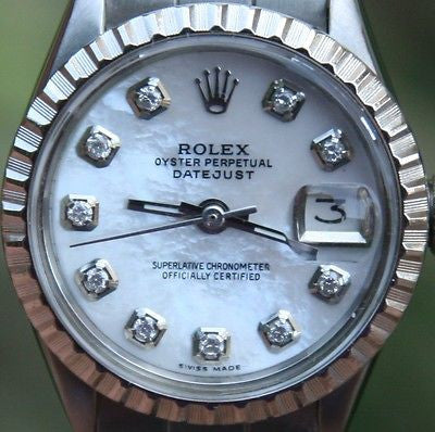 ROLEX STEEL LADIES 26mm DATEJUST WATCH WARRANTY VINTAGE DIAMOND MOP DIAL