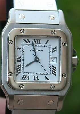 CARTIER SANTOS 29mm MENS AUTOMATIC DATE WATCH STAINLESS STEEL WHT DIAL W20055D6