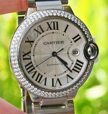 Cartier Steel Mens Ballon Bleu 42mm Watch Box & Paper Warranty Diamonds W69012Z4