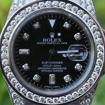 ROLEX STEEL MEN'S SUBMARNIER WATCH w/ DIAMOND DIAL BEZEL LUGS BOX/PAPERS 116610