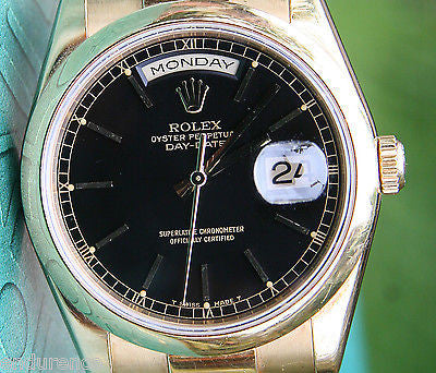 ROLEX PRESIDENT MENS WOMENS WATCH GOLD BLACK ONYX 118208 BOX PAPERS