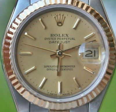 Rolex Ladies Datejust 26mm 18k Gold and Steel Fluted Bezel Jubilee band