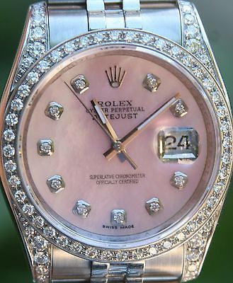 ROLEX STEEL LADIES MENS 36mm DATEJUST WATCH BOX & PAPER WARRANTY DIAMONDS 116200