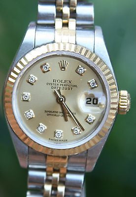 ROLEX 18k GOLD & STEEL 26mm LADIES AUTOMATIC DATEJUST WATCH DIAMOND DIAL FACTORY