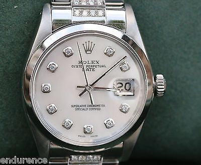 ROLEX MENS DATE 34MM VINTAGE WATCH BOXES DIAMOND BAND DIAMOND DIAL
