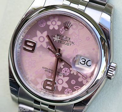 ROLEX 116200 WOMENS LADIES DATEJUST 36mm PINK FLORAL FLOWER DIAL YR 2015 NEW