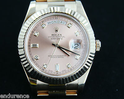 ZZZ ROLEX DAY-DATE II 41MM MENS 18K ROSE GOLD PRESIDENT DIAMOND DIAL BOX WARNTY CARD