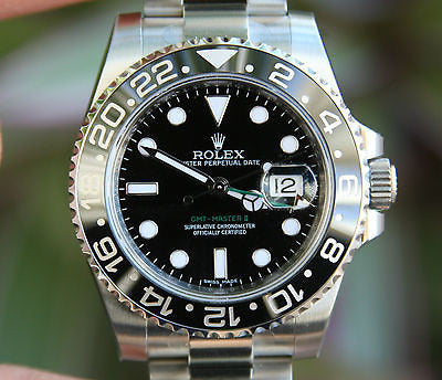 ROLEX MENS GMT II STAINLESS STEEL 40mm 116710 NEW BLACK CERAMIC BOX CARD UNWORN