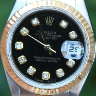 ROLEX 18k GOLD AND STEEL 26mm LADIES AUTOMATIC DATEJUST WATCH BLACK DIAMOND DIAL