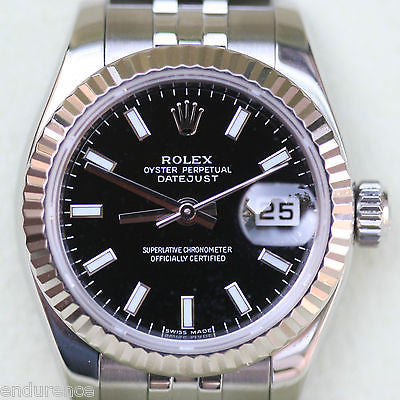 ROLEX LADIES DATEJUST 179174 STAINLESS STEEL WHITE GOLD FLUTED BEZEL
