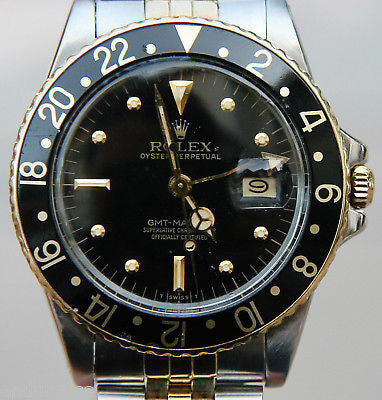 VINTAGE ROLEX 16753 GMT WATCH 18K GOLD and STEEL black DIAL serviced warranty