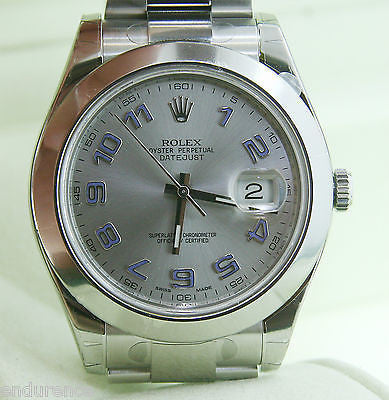 ROLEX DATEJUST MENS 116300 41 mm WATCH STAINLESS STEEL SILVER DIAL BLUE ARABIC