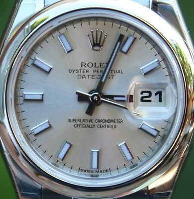 ROLEX STEEL LADIES DATEJUST WATCH WARRANTY BOX & PAPERS SILVER DIAL SCRAMBLE