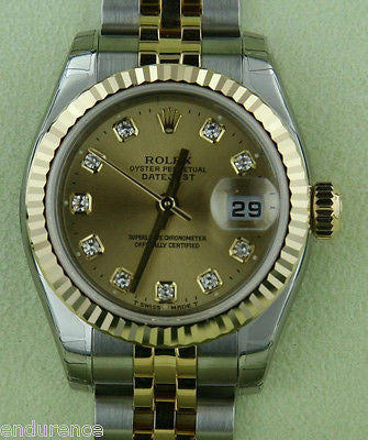 ZZZ ROLEX LADIES DATEJUST WATCH 18K & STEEL FACTORY GOLD DIAMOND DIAL BOX & PAPERS