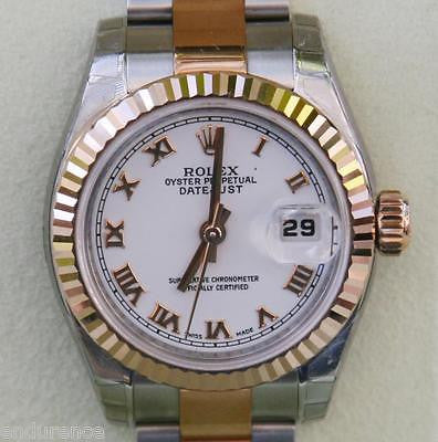 ROLEX LADIES DATEJUST WATCH ROSE GOLD STEEL WHITE ROMAN TWO TONE 179171