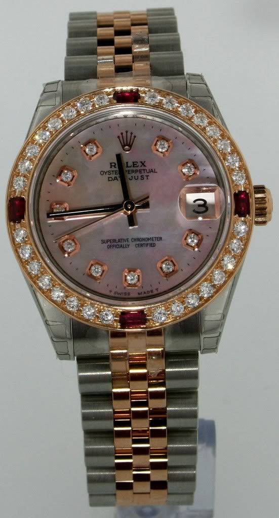 Rolex 31mm Midsize Rose Gold & Steel Datejust Diamonds 178240 New