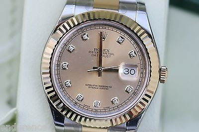 ROLEX DATEJUST 41 MENS TWO TONE GOLD STEEL DIAMOND DIAL 41mm 126333