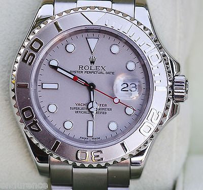 ROLEX MENS YACHTMASTER WATCH PLATINUM STAINLESS STEEL PAPERS BOXES