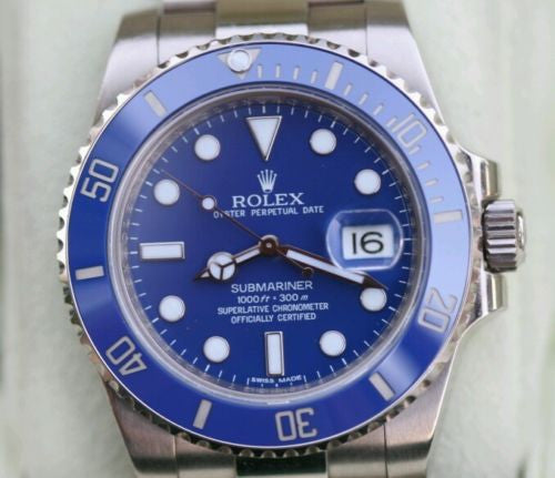 ROLEX SUBMARINER MENS 18k White GOLD 116619  CERAMIC BEZEL BLUE DIAL