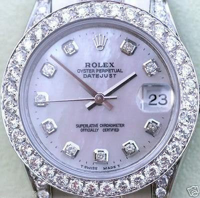 ZZZ ROLEX LADIES PRESIDENT MIDSIZE DIAMONDS EVERYWHERE 2015 178240 18K WG GOLD BAND