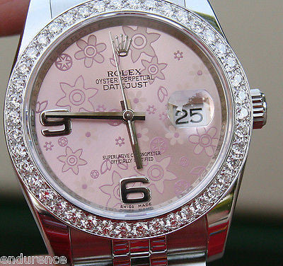ROLEX MENS LADIES NEW DATEJUST WOMENS 36mm SIZE PINK FLORAL FLOWER DIAL STEEL