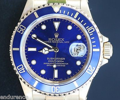 ROLEX MENS SUBMARINER WATCH 18K YELLOW GOLD BLUE ON BLUE 16618