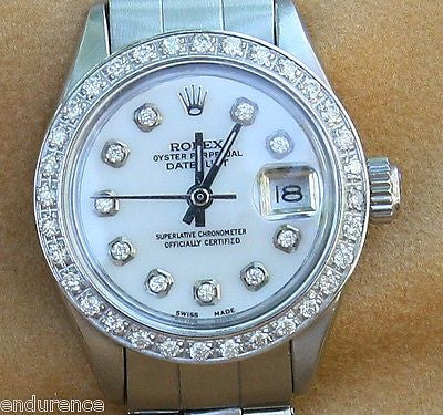 ROLEX LADIES VINTAGE WATCH DATEJUST  STEEL DIAMOND DIAL BEZEL 6916