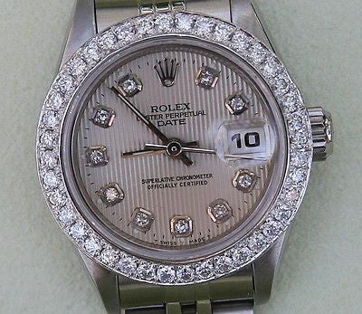 ROLEX  DATEJUST LADIES STEEL DIAMOND SILVER TAPESTRY DIAL DIAMOND BEZEL