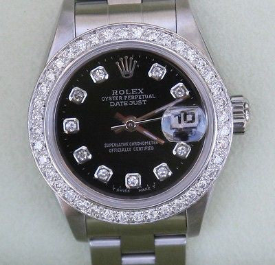 ROLEX DATEJUST LADIES WATCH STEEL BLACK DIAMOND DIAL BEZEL LATE 69160