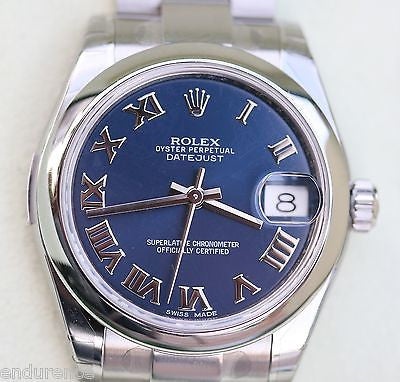 ROLEX DATEJUST STAINLESS STEEL MIDSIZE WATCH BLUE ROMAN DIAL 178240 year 2010