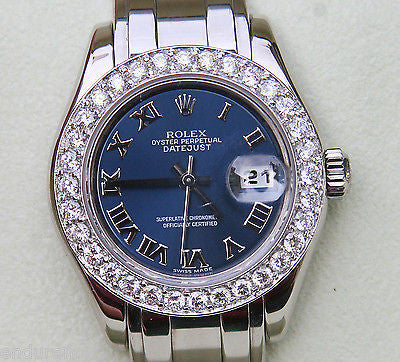 ROLEX LADIES PEARLMASTER MASTERPIECE WATCH WHITE GOLD 80319 DIAMOND BEZEL