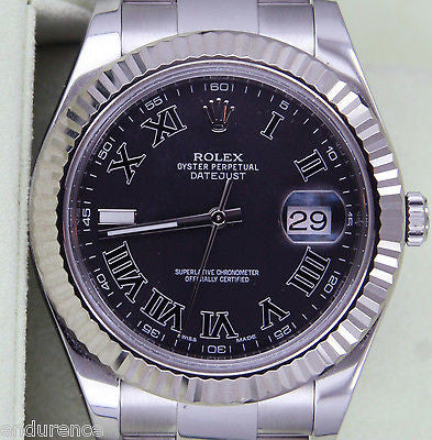 ROLEX DATEJUST II MENS STAINLESS STEEL 41mm 18k WHITE GOLD BEZEL 116334