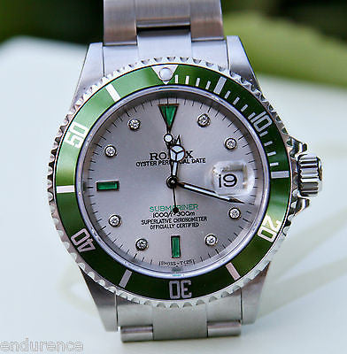 ROLEX GREEN SUBMARINER MENS 16610 STAINLESS STEEL WATCH EMERALD DIAMOND DIAL