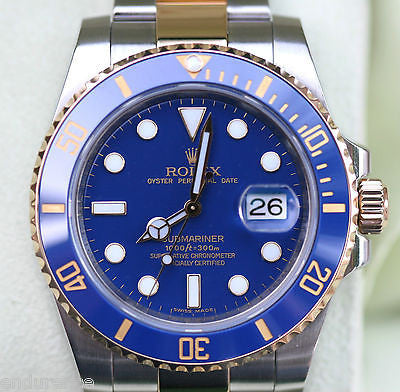 ROLEX SUBMARINER MENS GOLD STEEL 116613 CERAMIC 2011 BLUE DIAL BEZEL